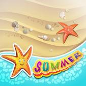Summer beach with starfish — Stock Vector