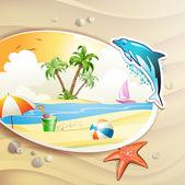 Praia de verão com palmeiras — Vetor de Stock
