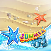 Summer beach with starfish — Vector de stock