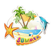 Summer beach with palm trees — Stock Vector