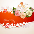 Valentine's day card with roses, hearts and cupid — Stock Vector