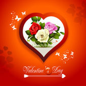Valentine's day card with hearts and roses — Stock vektor