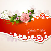 Valentine's day card with hearts and roses — Vector de stock