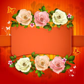 Red background with roses — Stock Vector