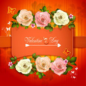 Valentine's day card with roses and butterflies — Vecteur