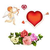 Róże, serca i amorek — Wektor stockowy