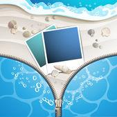 Summer beach with photo frame — Stock Vector