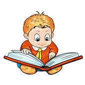 Cartoon children reading a book — Stock Vector