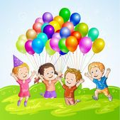 Kids with balloons — Stock Vector
