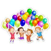 Niños con globos — Vector de stock