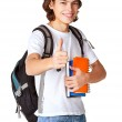 Student with a textbook and satchel — Stock Photo #13131268