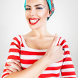 Energetic funny smiling woman — Stock Photo