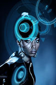 Attractive african woman with shiny hologram on head — Stock Photo