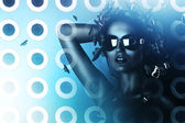 Sexy brunette woman in sunglasses and hologram — Stock Photo