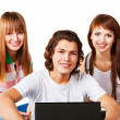 Students smiling with backpack and laptop — Stock Photo #14059126
