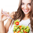 Close-up portrait of funny happy smiling girl with salad — Stock Photo #14057869