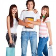 Three students — Stock Photo