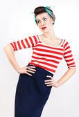 Sexy pinup woman in striped t-shirt — Stock Photo