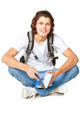 Student with a textbook and satchel — Stock Photo