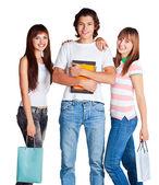 Three students — Stock Photo