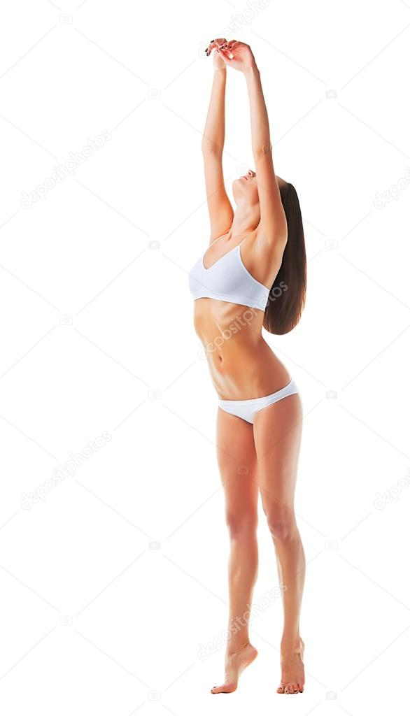 Attractive sporty woman with hands up  Stock Photo #14057364