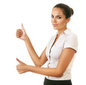 Woman showing ok gesture — Stock Photo