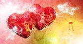 в день святого валентина день пролетел красных сердец, нападению амуров — Стоковое фото
