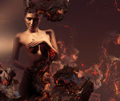 Sexy erotic nude woman in burning ashes — Stock Photo