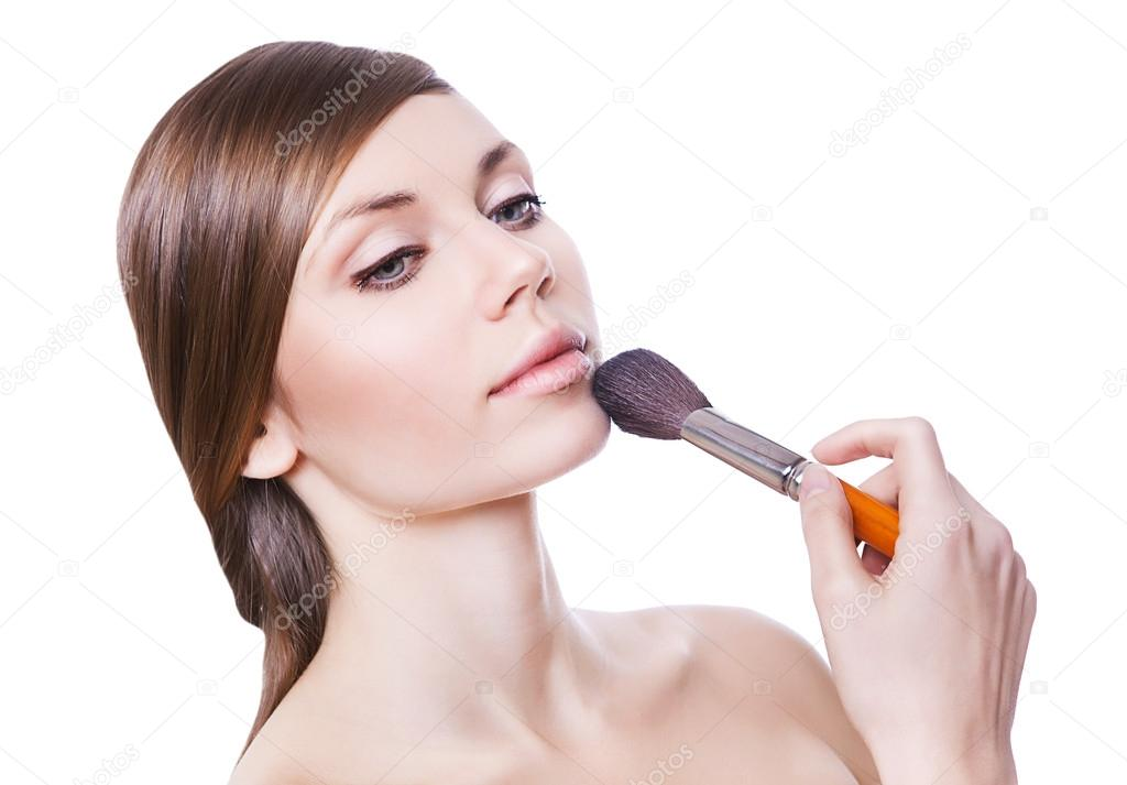 Natural attractive woman with brush on white background  Stock Photo #14302145