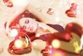 Aziz sevgililer günü kadın üzerinde uçan kalpler ile kum — Stok fotoğraf