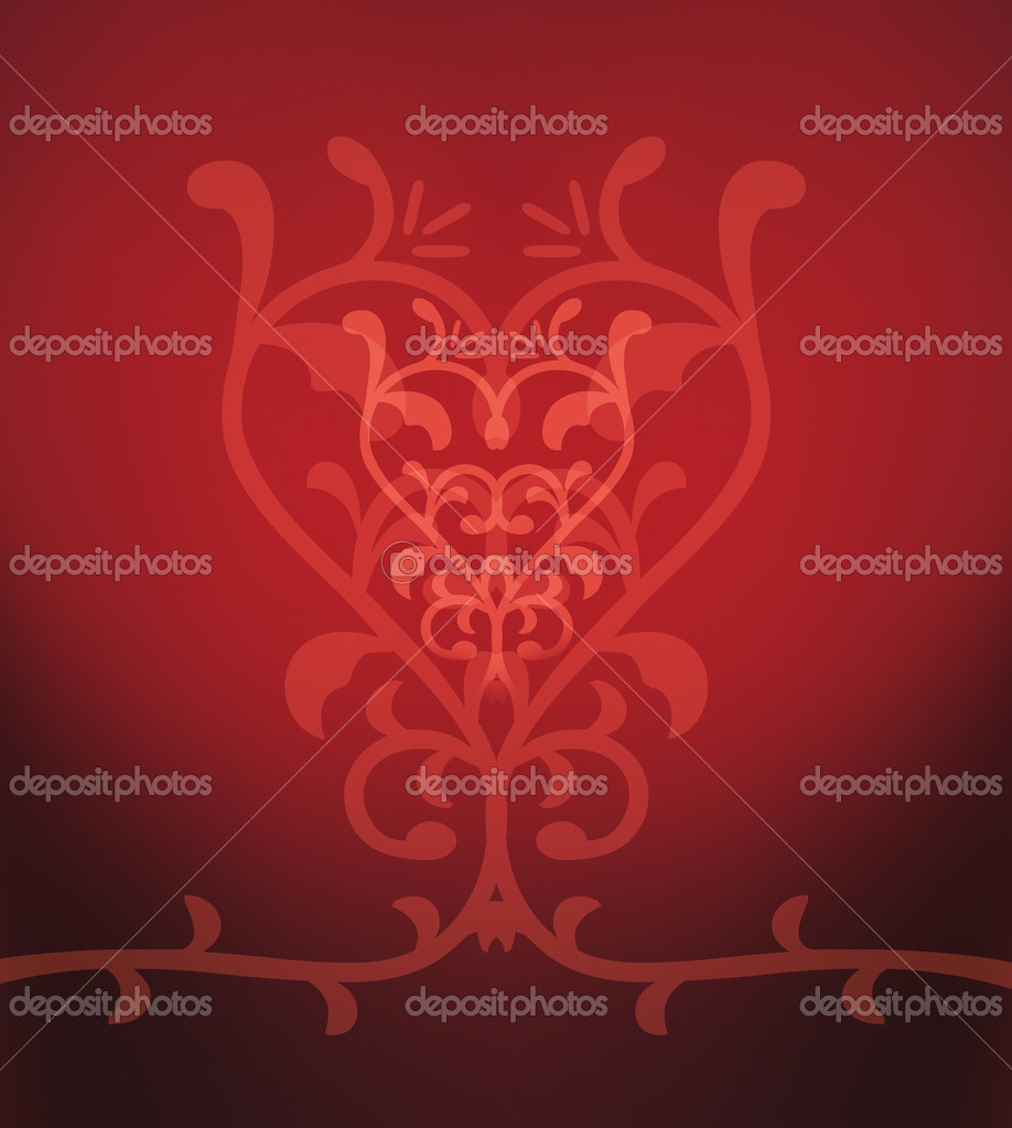 Ornament heart on red background — Stock Photo #15260527