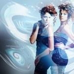 Two women in bubbles — Stock Photo #15844325