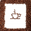 Stock Photo: Coffee beans border with coffe cup beans