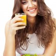 Happy girl with juice — Stock Photo