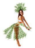 Happy woman dancing in money dress — Stock Photo