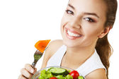 Cheerful happy woman with salad — Stock Photo