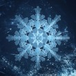 Crystal snowflake in frost — Stock Photo
