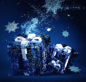 Frozen christmas gifts — Stock Photo