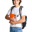 Stock Photo: Student with textbook and satchel1