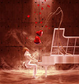 Saint Valentine's Day pianist and flying hearts — Stock Photo