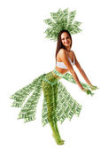 Happy woman dancing in green money dress — Photo