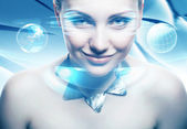 Adult woman with accessorize with virtual interface — Stock Photo