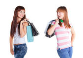 Girls with shopping bags — 图库照片