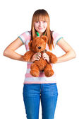 Girl with toy bear — Stok fotoğraf