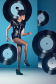 Disco woman dancing — Stock Photo