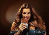 Woman and chocolate — Stock Photo