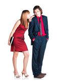 Flirtation between man and woman — Stock Photo