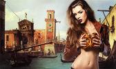 Woman with venetian mask — Stock Photo