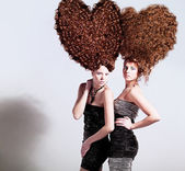 Girls with   heart-shaped hairstyle — Stock Photo