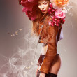 Beautiful erotic sexy flower woman in jacket and flowers — Stock Photo #9036207